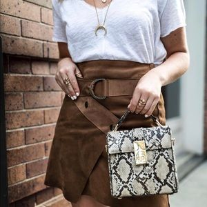 ASTR the label brown suede skirt